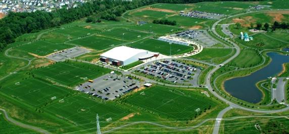 Aerial photo of Maryland Soccerplex near Germantown, Maryland