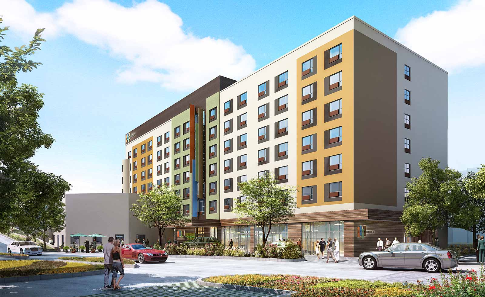 Rendering of exterior of EVEN Hotel Rockville in Maryland