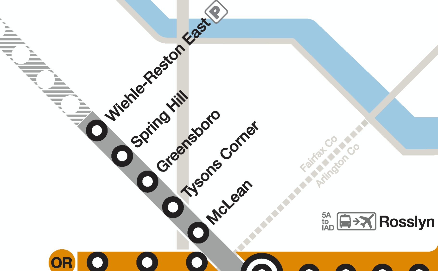 Map of stations opening in Phase I of the Metro Silver Line project