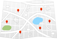 Map of hotels in Castorland