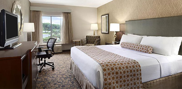 Renovated guest room at the Crowne Plaza Columbus-Dublin Hotel in Ohio