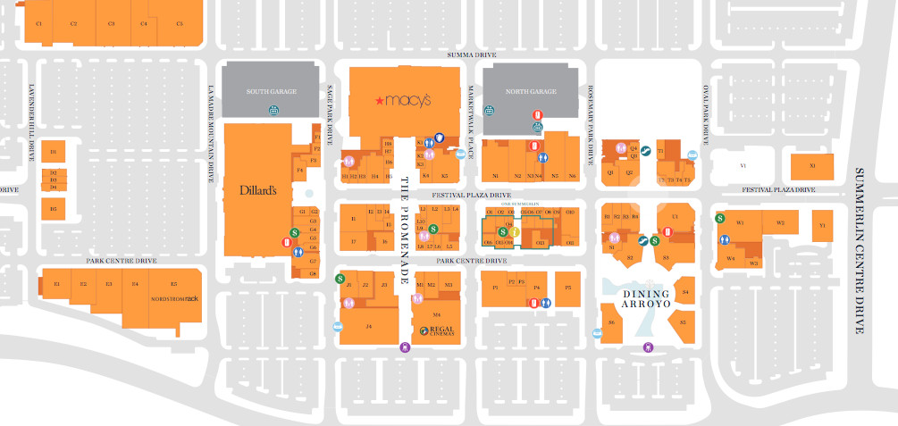 Map of Downtown Summerlin in Las Vegas, Nevada