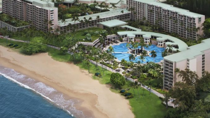 Aerial oceanfront view of Kauai Marriott Resort