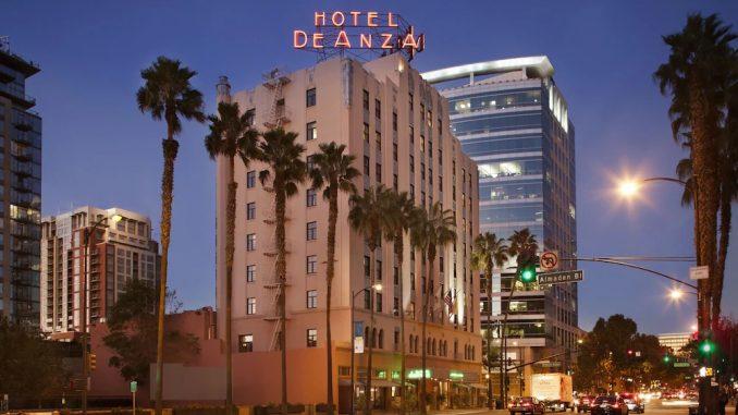 Street view of Hotel De Anza in San Jose