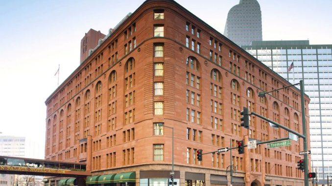 Streetside view of The Brown Palace Hotel and Spa in Denver, Colorado