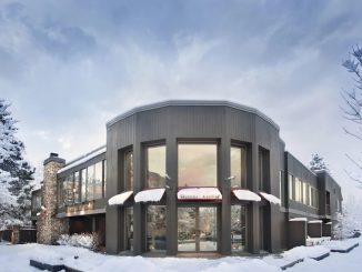 View of snow covered entrance to the Hotel Aspen